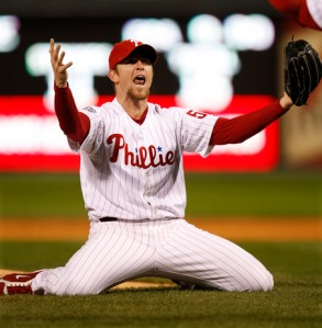Philadelphia Phillies' Brad Lidge reacts after their victory in Game 5 of the baseball World Series in Philadelphia, Wednesday, Oct. 29, 2008. The Phillies defeated the Tampa Bay Rays 4-3 to win the series. (AP Photo/Chris O'Meara)