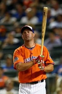 Michael Cuddyer wore the special blue and orange jersey and cap while participating in the Chevrolet Home Run Derby during All-Star facilities at Citi Field in 2013. Now he'll wear official New York Mets blue and orange.